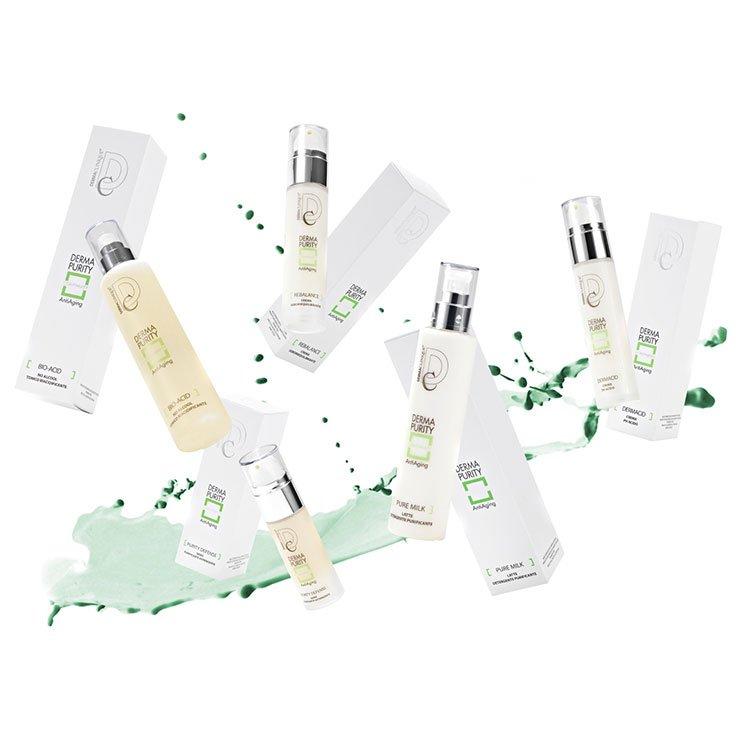 Una linea cosmetica a base di oli essenziali, Argilla verde, Complesso di aminoacidi solforati, costituisce un sistema sinergico capace di riequilibrare e donare purezza alle pelli con eccessiva produzione di sebo